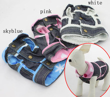 Pretty Cute Dogs Denim Coat Small And Medium Dog Clothes Faux Fur Lining Pet Jacket Winter