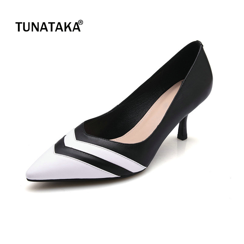 Genuine Leather Thin High Heel Pointed Toe Woman Pumps Fashion Mixed Color Dress High Heel Shoes Woman Black Pink