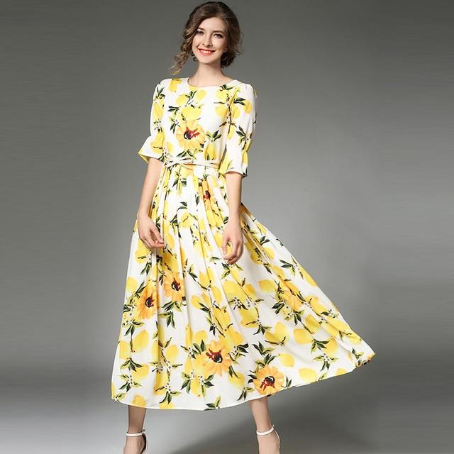 3cd684a1329 Newest Fashion Runway 2017 Designer Maxi Dress Women s Half Sleeve Vintage  Pattern Printed Bohemian Long Dress With Tie Waist