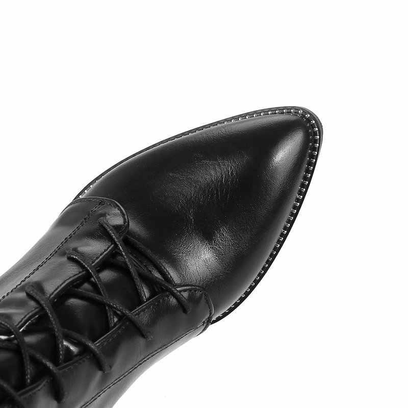 Femmes épais talon haut genou bottes fermeture éclair latérale mode à lacets bout pointu hiver femmes chaussures Beige noir marron