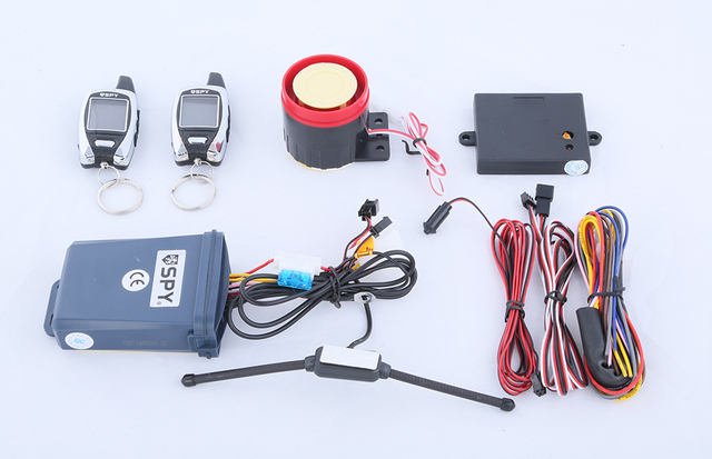 In stock! Quality SPY LCD two way motorcycle alarm system with remote engine start  & microwave sensor long remote distance