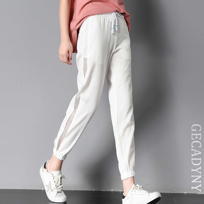 Summer Leisure Ice Silk Linen Side-stripe Female Mesh Hollow Out Fitness   Pants   Women Elastic Waist Solid Harem   Pants     Capris