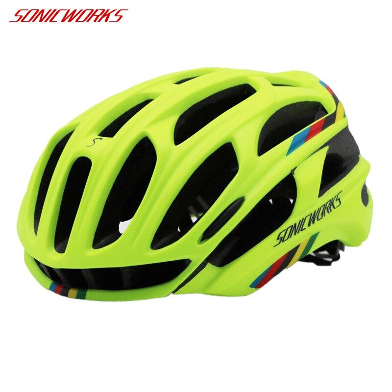 SONICWORKS Bicycle Helmet Cover With LED Lights MTB Mountain Road Cycling <font><b>Bike</b></font> Helmet Men Women Capaceta Da Bicicleta SW0002