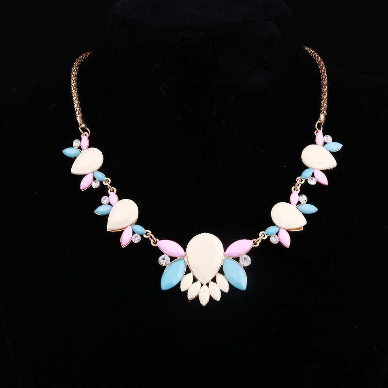 multi colors simulated gemstone flower chokers necklace brand designer