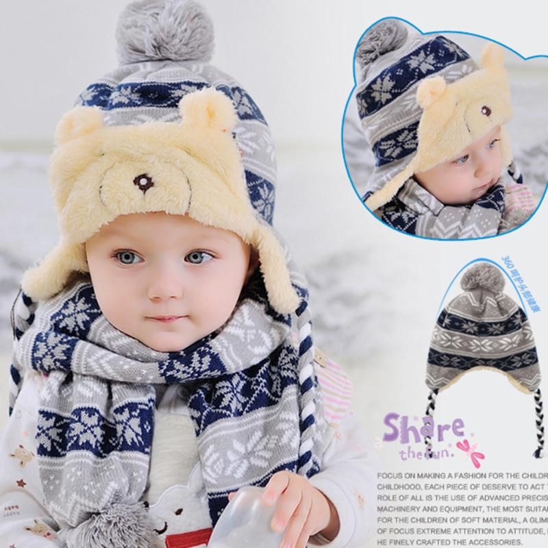 Winter Super Warm Baby Knitted Ball Hat with Scarf Cute Kids Children Lamb Bear Hat Beanies Cap Infant Toddler Skullies Knit Hat vbiger men women winter knit hat skullies beanies warm chunky outdoor wool hat cap ribbed knitted beanie cap bonnet