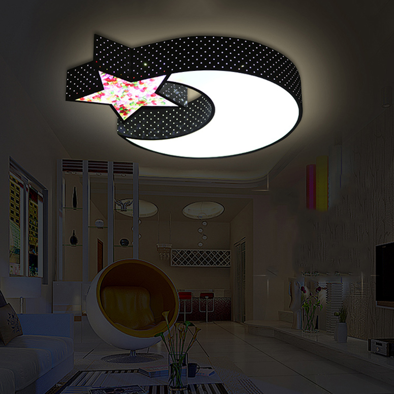 Cartoon moon star ceiling lamps child baby bedroom lights creative study living room decoration lighting creative star moon lampshade ceiling light 85 265v 24w led child baby room ceiling lamps foyer bedroom decoration lights