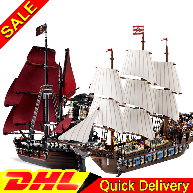 LEPIN 16009 Queen Anne's revenge + 22001 Imperial Warships Model Building Blocks For children Pirates Toys Clone  4195 10210 lepin 22001 pirates series the imperial war ship model building kits blocks bricks toys gifts for kids 1717pcs compatible 10210