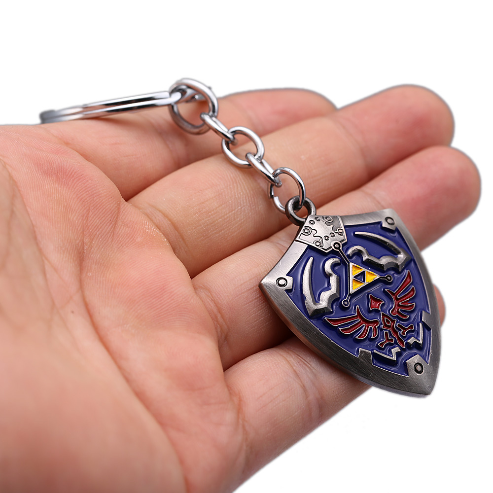 Game The Legend of Zelda Keychain Hylian Shield Pendant Titanium Metal Key Ring Holder Men Car Women Bag Key Chain Jewelry 3