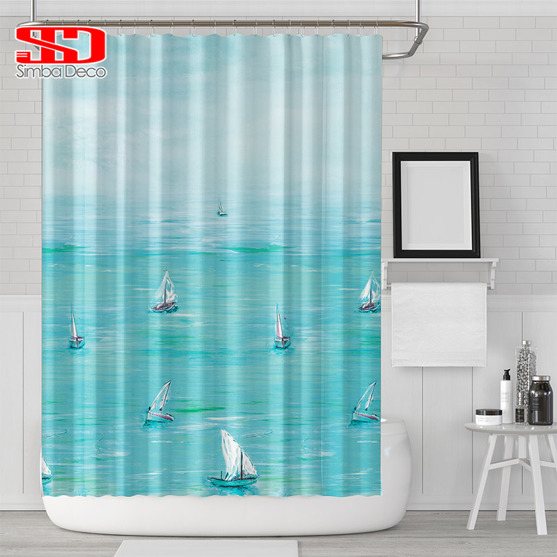 Sailboat Bathroom Shower Curtains For 3D Ditigal Printing Ocean Scenery Waterproof Fabric Polyester Bath