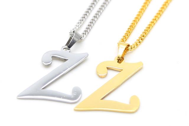 Letter Z Necklace ALP ZIDOM Gold color deft design letter Z initials for lovers unisex pendant  necklace Miami Cuban Curb