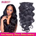 "Human Hair Clip in Extensions Body Wave Malaysian Virgin Hair Extensions Clips Ins 10""-28"" for Whole Head Free Ship Body Wave"