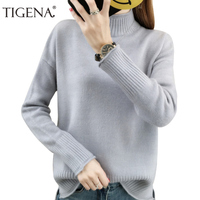 TIGENA Black White Loose Thick Warm Women Sweaters And Pullovers Female Knitted Sweater Women Turtleneck Jumper