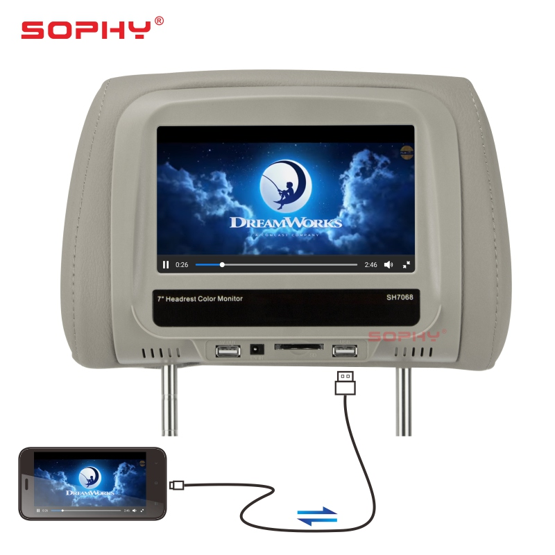 New 7 inch TFT LED Touch Screen MP5 Player Universal Car Headrest Monitor AV USB SD Bluetooth FM IR Built-in Speakers SH7068-MP5 new 9 inch portable headrest monitor mp5 player led screen car monitor built in speaker support usb sd card reader fm sh9088 mp5