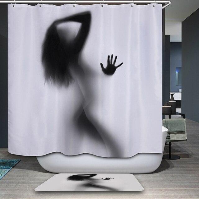 Занавески для ванной с рисунком сексуальным