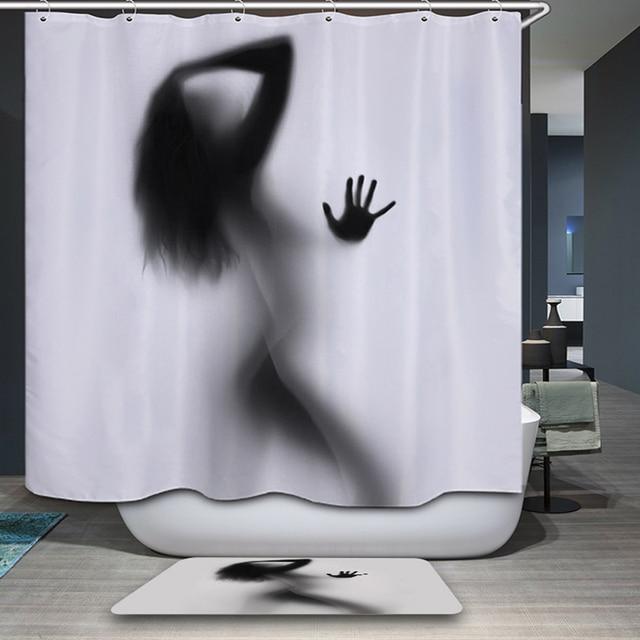 Fashion Creative Girl Sexy And Women Shadow Silhouette Bathroom Rainfall Shower Curtain Decoration Home