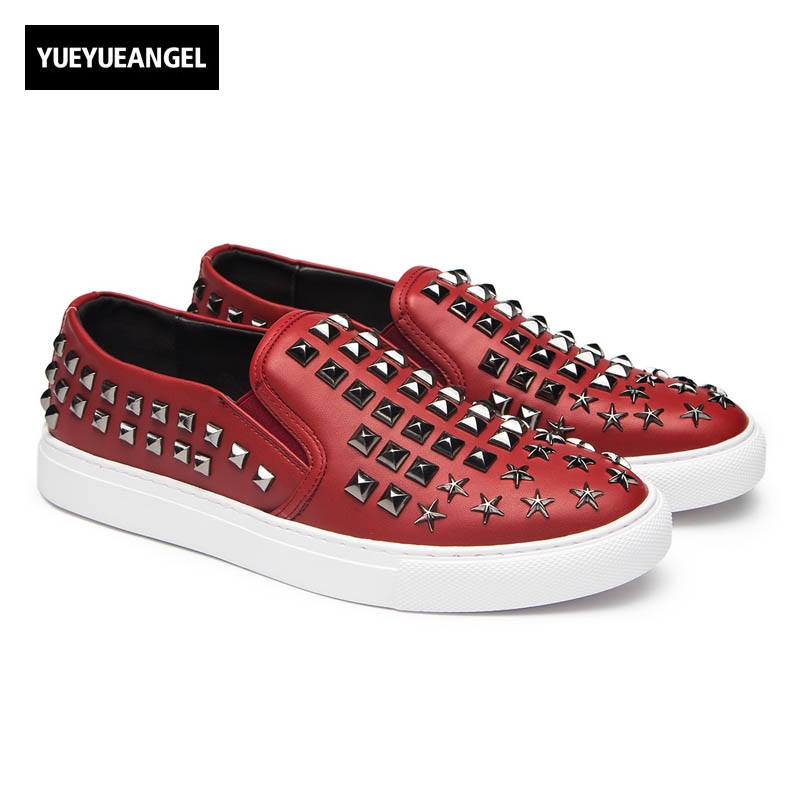 2017 Hot Sale Pu Leather New Fashion Rock Punk Men Round Toe Slip On Male Casual Shoes Plus Size Breathable Rivet White plus size 2016 new fashion genuine leather formal brand metal pointed toe rivets punk rock men s slip on brogue shoes fpt324