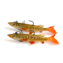 Package lead soft fish tip mouth yellow white spot 9.5cm14g t tail lure bait