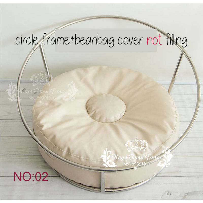 Newborn Photography Props Baby Flokati Photo Shoot Accessories Basket For Studio 85CM Big Size Bean Bag+ Nest Round Shelf