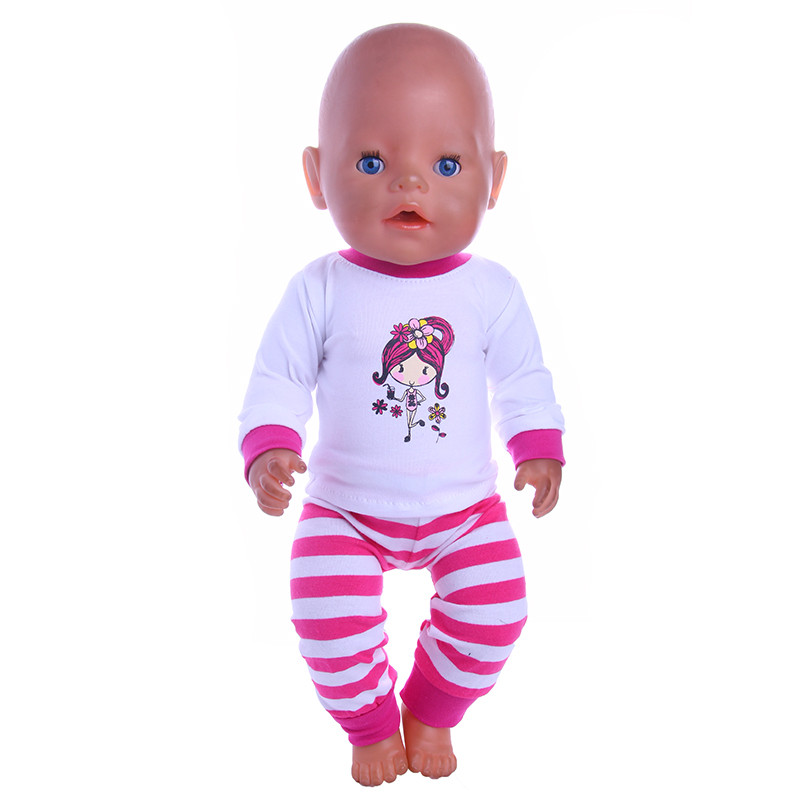 The 2018 new style cute Purple Red Cartoon Pattern Pajamas for 43cm Newborn &18 Inch American  Doll Clothes n951