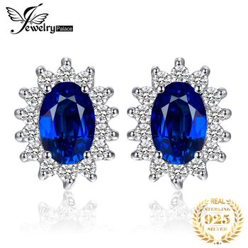JewelryPalace 1.5ct Criado Blue Sapphire Birthstone Princesa Diana Halo Brincos 925 Prata Esterlina Jóias Finas Mulheres
