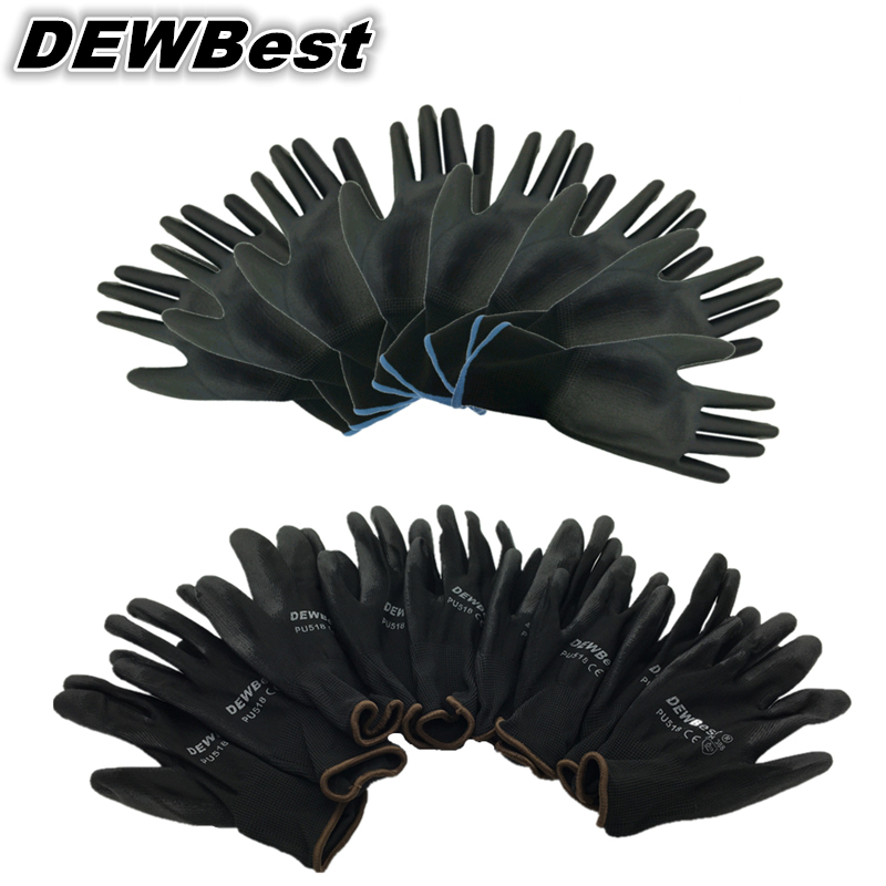DEWbest gloves new store factory direct work gloves PU material safety protection gloves 12pairs / lot European standard 001-in Safety Gloves from Security & Protection