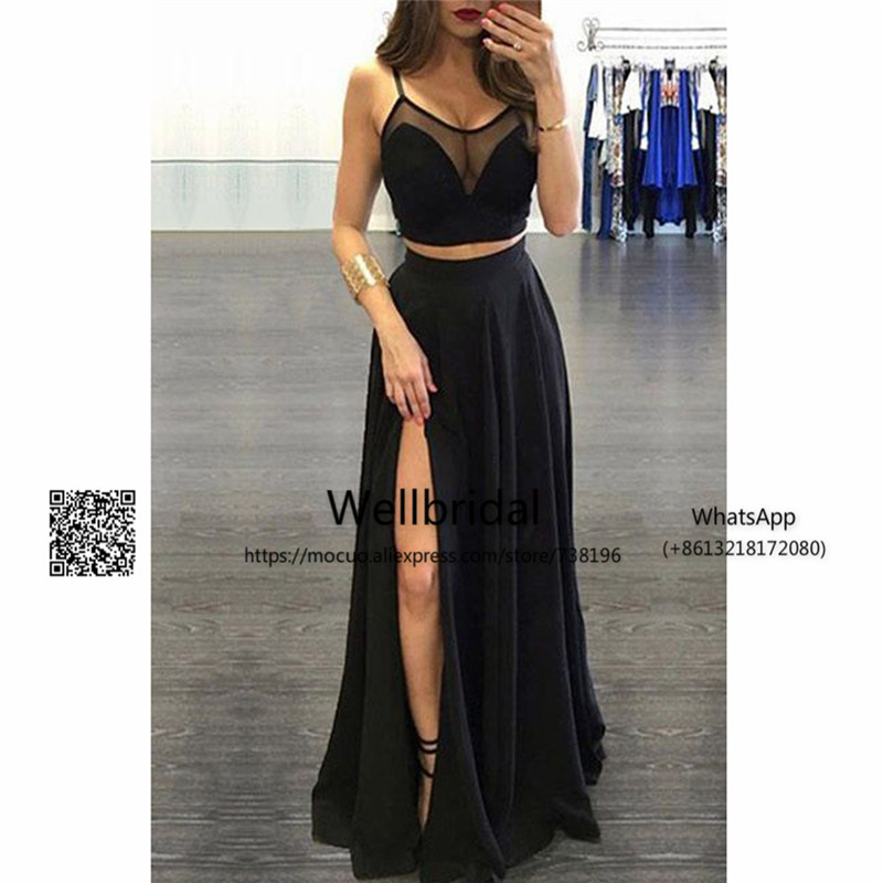 Simple 2017 Sexy Two Pieces Black Split Long Prom   Dresses   Long   Evening     Dresses   Chiffon Formal   Evening   Party   Dress
