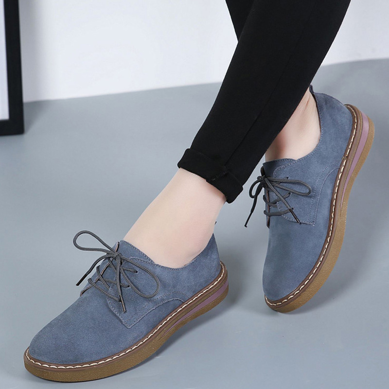 Ariari Spring women casual shoes Platform sneakers shoes women lace up flat loafers   suede     leather   shoes women oxford shoes