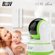 Inicio de alarma de seguridad remota smart 720 p hd wifi ip p2p cámara de vigilancia de la cámara + sensor de puerta inalámbrico bebé monitor bw13gr