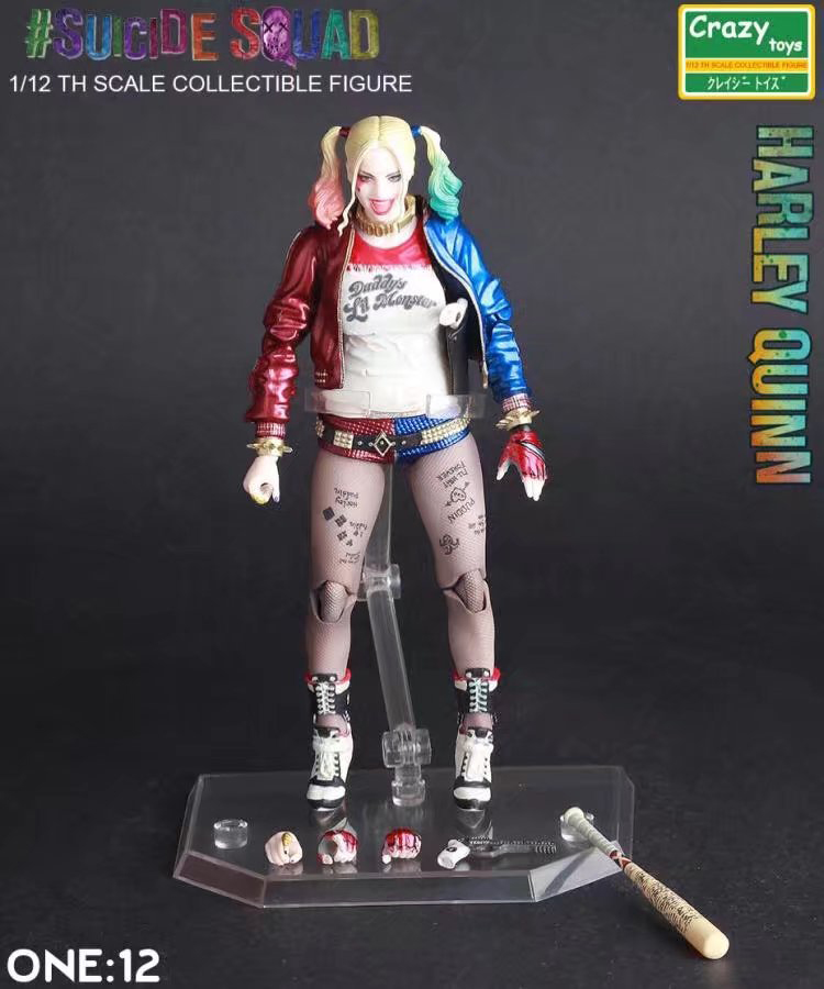 15CM anime figure Suicide Squad Harley Quinn movable action figure collectible model toys for boys фигурка на солнечной батарее suicide squad harley quinn 15 см