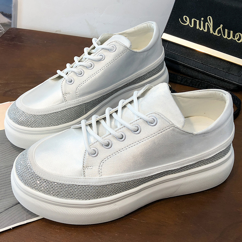 2019 Spring Shoes Glitter Leather Pink Platform Sneakers Ladies Board Shoes Woman Comfortable Casual Flats Shoes buty damskie2019 Spring Shoes Glitter Leather Pink Platform Sneakers Ladies Board Shoes Woman Comfortable Casual Flats Shoes buty damskie