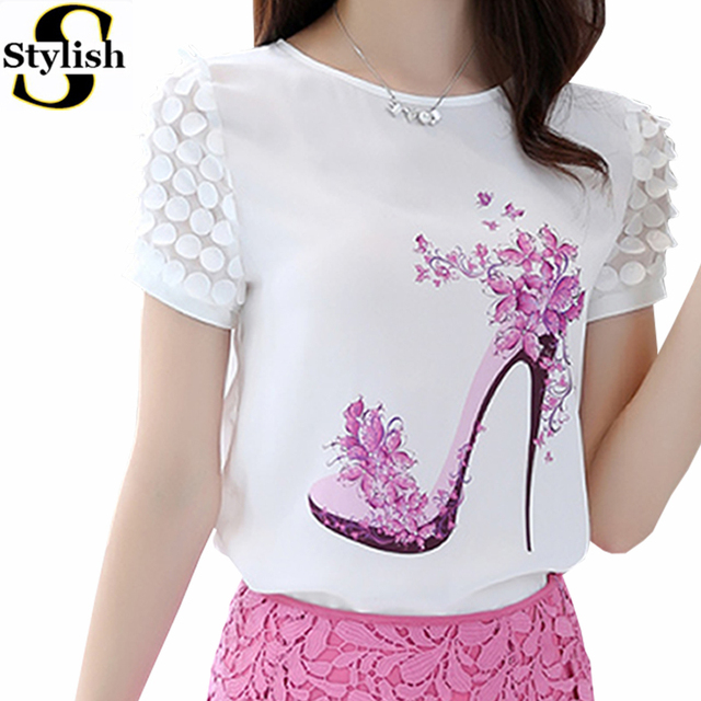 Summer Korean Fashion Casual Short Sleeve Chiffon Blouse