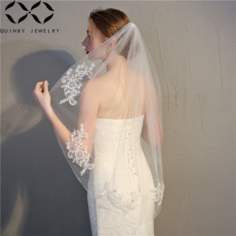 Quinby Short Bridal Veils Wedding Accessories Lace Bridal Veil With Comb Ivory One Layer Wedding Veil Bride Hairwear Veil Q5