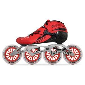 Image 4 - 2019 الأصلي Bont Jet 2PT سرعة حذاء تزلج بعجلات heatmoltable الكربون التمهيد 4*90/100/110 مللي متر 6061 عنصري عجلة التزلج Patines