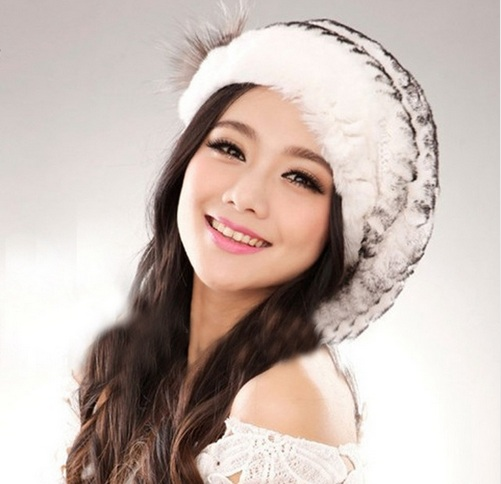 Hot ladies fashion excellent knitted real natural rex rabbit fur hat  Genuine Women winter cap high quality beret hat-in Bomber Hats from Women s  Clothing   ... 38ab40beef49
