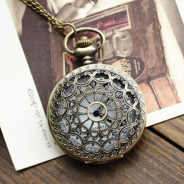1pcs Retro Vintage Bronze Quartz Necklace watch Pendant Steampunk Chain Clock Po