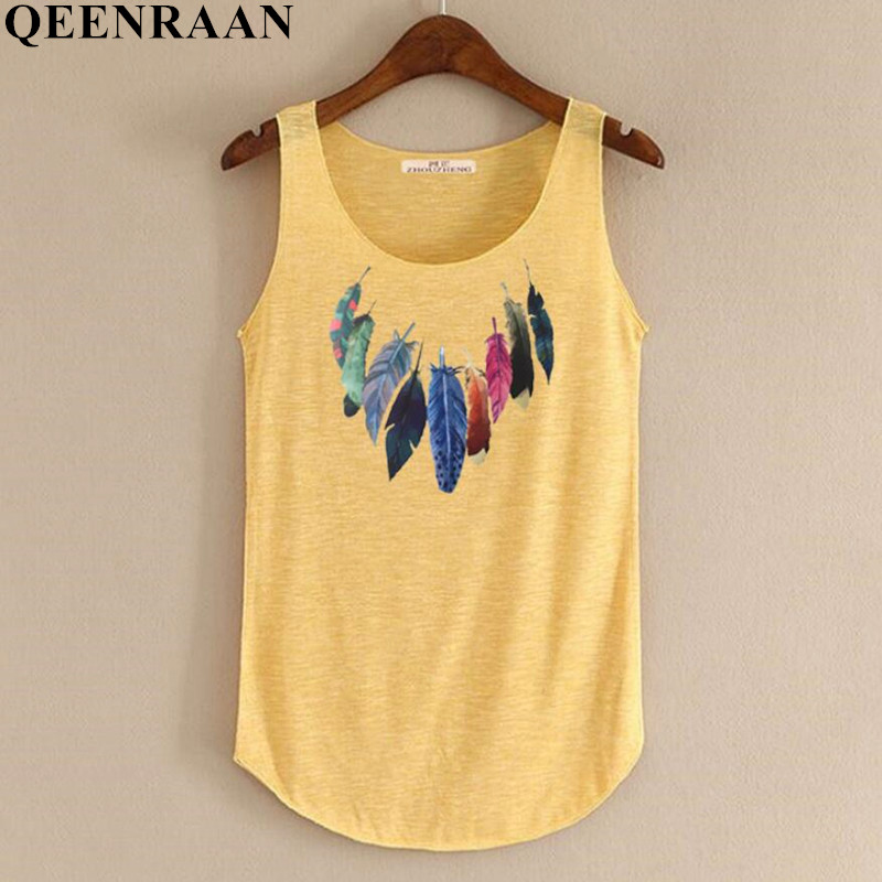 Spring Summer New   Tank     Tops   Women Sleeveless Round Neck Loose Tees 2018 Ladies Colored Feathers Printing T Shirt Vest Singlets