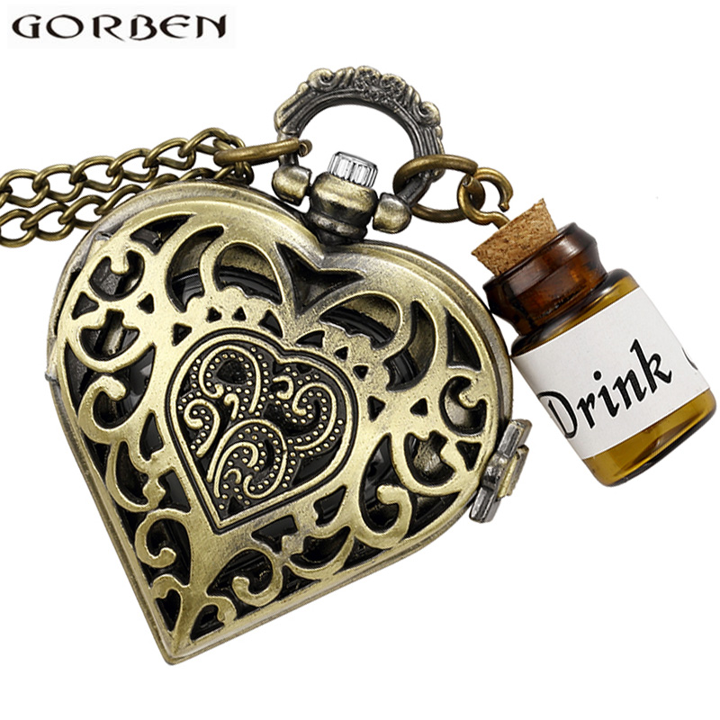 Antique Bronze Alice In Wonderland & Drink Me Bottle Pocket Watch Vintage Heart Shape Quartz Fob Clock Chain Pendant Men Women vintage bronze quartz pocket watch glass bottle antique fob watches classic men women necklace pendant clock with chain gifts