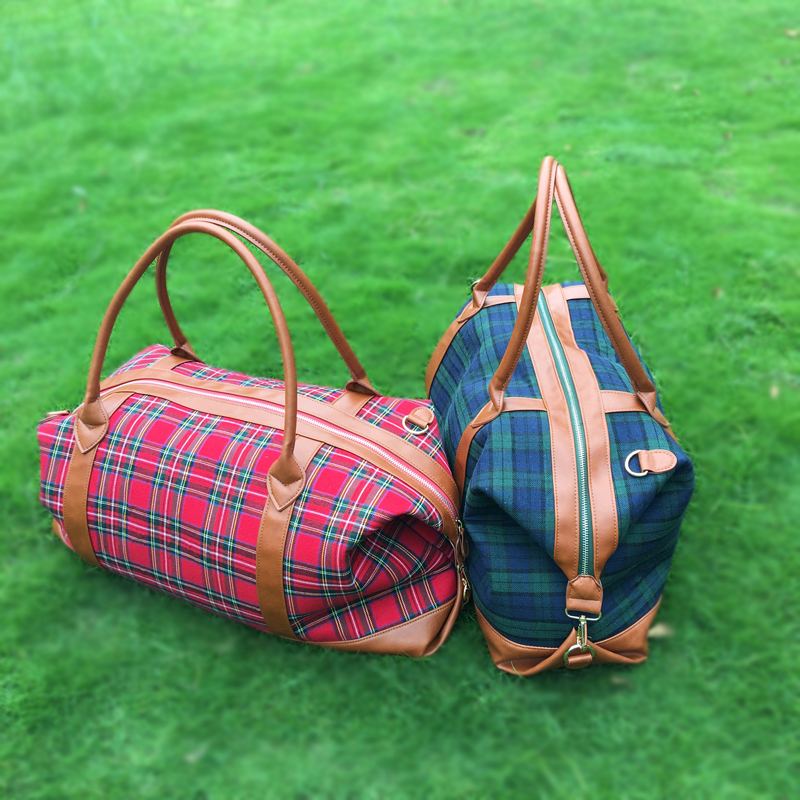 Free Shipping Red Plaid Canvas Duffle Bags ,Wholesale X mas Holiday Accessory Plaid Organizer Weekend Totes DOM-1010398