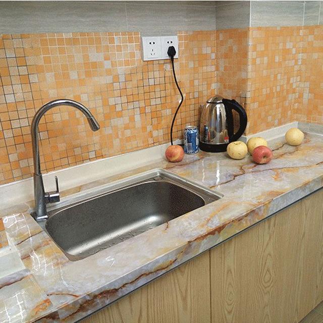 45x200cm Waterproof Mosaic Aluminum Foil Self-adhensive Anti Oil Kitchen Wallpaper Heat Resistance Wall Sticker DIY Home Decor
