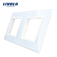 Livolo Luxury White Pearl Crystal Glass 150mm 80mm EU Standard Double Glass Panel For Wall Switch