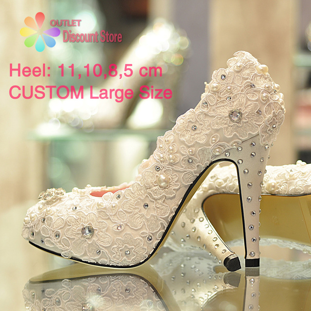 Perfect Wholesale Handmade Ivory Lace Bridal Shoes Pink Rhinestone Wedding Heels  Custom Big Plus Size 12 Pumps Great Pictures