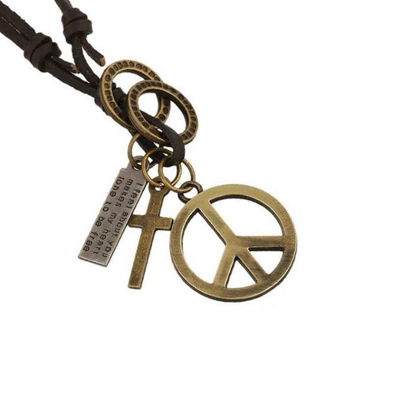 Antik Vintage Cross Dog Tag Hollow Peace Symbol Hänge Halsband män - Märkessmycken - Foto 2