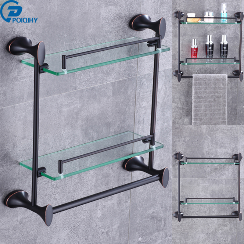 POIQIHY Oil Rubbed Bronze Glass+Brass Wall Mounted Type Dual Tier Bathroom Bath Accessories Storage Shelf Shelves Tower Hanger пакеты для мусора хозяюшка мила 07012