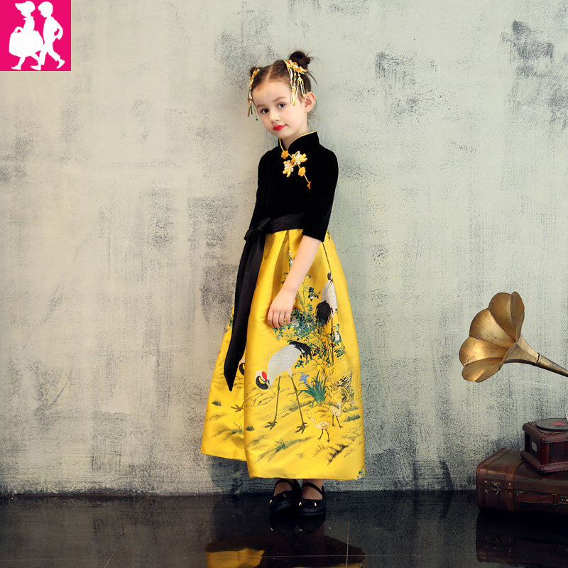 Girls Dresses 2018 Chinese style Cheongsam Net yarn Embroidery Thick Short Sleeve Princess Dress For Girls Children Clothing girl clothing dress 2018 chinese style autumn and winter high collar long sleeve printing thick warm cheongsam children s dress