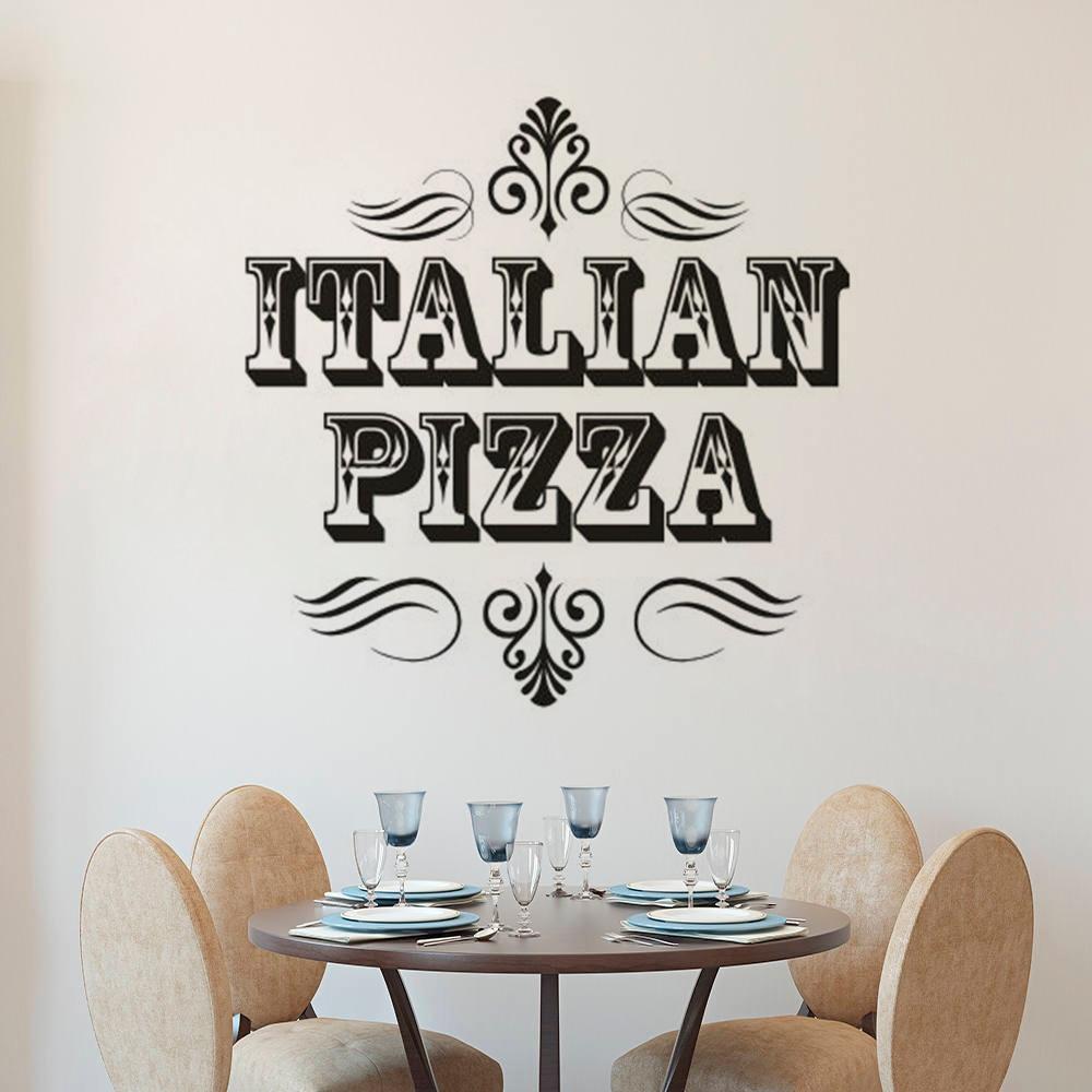 Italian Pizza Sign Wall Sticker Pizza Store Window Decals Restaurant  Interior Decoration Pizzeria Vinyl Wall Art Mural AZ231
