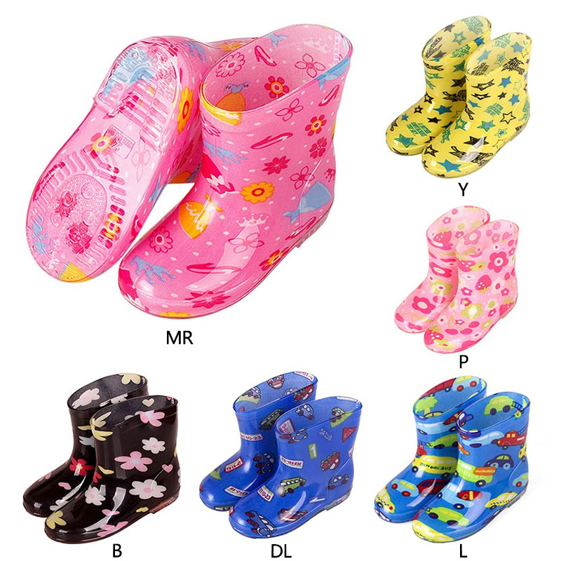 Children Rain Boots Cartoon Animal Fashion Princess Kids Plus Velvet Warm Rubber Antiskid Student Water Shoes 2-5Y