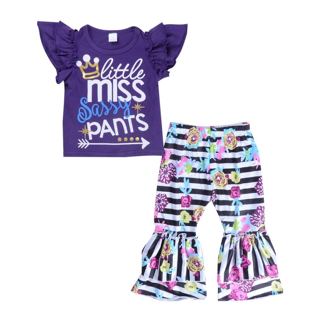 Komplety Baby Girl Odzież Batwing Sleeve Little Miss Vogue Purple - Ubrania dziecięce - Zdjęcie 1