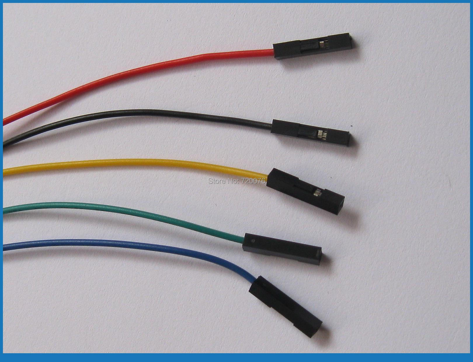 """ФОТО 500 pcs Jumper wire Female to Female 1 Pin Pitch 2.54mm 5 colors 30cm(12"""")"""