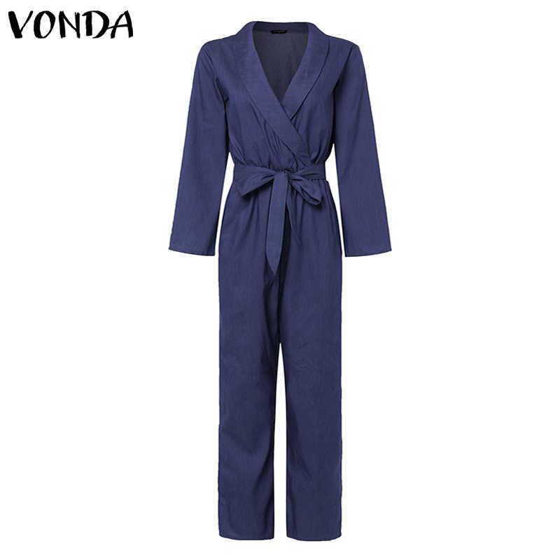 Модные летние джинсовые комбинезоны VONDA, женские сексуальные комбинезоны с глубоким v-образным вырезом, повседневные льняные комбинезоны, женские свободные комбинезоны размера плюс, штаны