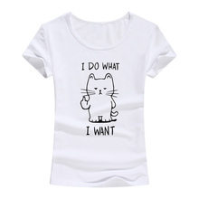 New Summer I Do What Want Cat Kitty Middle Finger Sassy Funny Print Cute T Shirt Femme Anime 100% Cotton Short Sleeve Tops